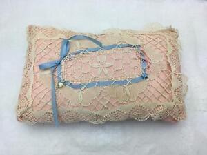 Vintage 9x15 Fancy Decorative Handmade Pillow Pink Satin Crochet Overlay 1 of 2