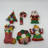 "1970's Vintage Christmas Tree Ornaments lot of 6 Plush Quilted Stuffed 5"" & 6"""