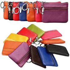 Womens Mens Leather Small Coin Holder Card Key Ring Wallet Pouch Mini Purse Bag