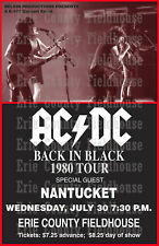 AC/DC 1980 Back in Black Concert Tour poster, Erie County Fieldhouse, Erie, PA