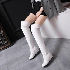 Womens High Hidden Wedge Heels Over Knee Riding Boots Zipper Side Fashion Shoes