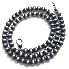 Sterling Silver 6mm Navajo Pearls Bead Necklace Oxidized Beaded Ball Chain 19""