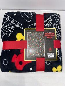"NWT Disney Parks Mickey and Minnie Print Throw Blanket Black Disneyland 40""x 60"""