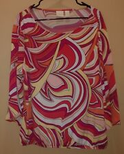 CHICO'S STRETCH RETRO PINK RED WHITE SPIRAL HIPPIE BOHO TOP GUC SZ 3 = XL (16)