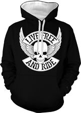Live Free And Ride Skull Wings Biker Motorcycle Rider 2-tone Hoodie Pullover