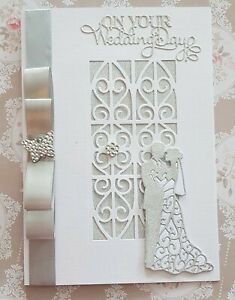 """Wedding 3D Card Large white & silver glitter  Handmade """"6 x 8 1/4 """" A5 in size"""