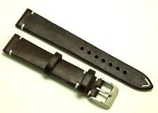18mm Vintage Brown/White Leather Watch Strap Handmade Silver Tone Buckle