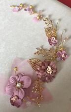 oscuro lila apariencia vintage Tocado ORO Alambre Hojas Vid Accesorios de boda