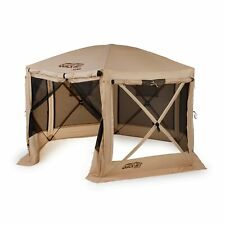 Quick-Set 12.5 ft. Pavilion Portable Outdoor Gazebo Canopy Shelter Screen, Tan
