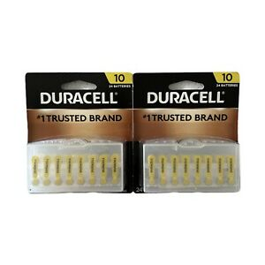 24 Pack Duracell Size 10 Batteries x 2 Packages March 2023 for Hearing Aids NEW