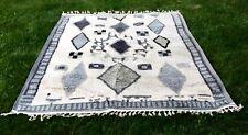 NEW Anthropologie gray tan Neutral Tribal Diamond Pattern Tassel Edge Rug 8 x 10