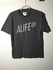 Alife Mens Grey Graphic Spell Out T Shirt Size M Short Sleeve Cotton