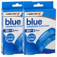 2x 80 Pk Ideal Catering Blue Assorted Plasters - Flexible & Breathable - 2 Sizes