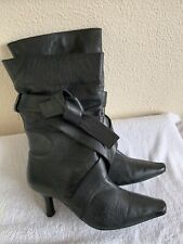 Ladies Black Leather Pointy High Calf Length Boots Pull On Stilletto