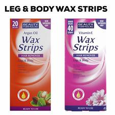 Wax Strips Ready to Use Leg Body Hair Removal Argan Oil Vitamin E