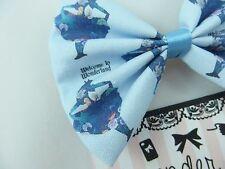 Alice in Wonderland Pastel Blue Handmade Fabric Hair Bow