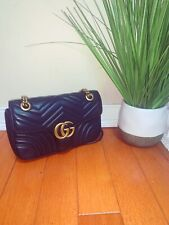 AUTHENTIC GUCCI MARMONT SMALL CROSSBODY SHOULDER BAG LEATHER BLACK GOLD CHAIN