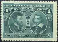 Canada #97 mint F-VF OG NH 1908 Quebec Tercentenary 1c Cartier & Champlain JUMBO