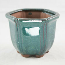 "Semi-Cascade, Semi-Deep Hexagon Dark Green Shohin Bonsai Pot 4.25""x 4.25""x 3.25"""