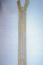 Sand Beige Tan 9 Inch or 23 cm Double Row Crystal Rhinestone Closed End Zipper