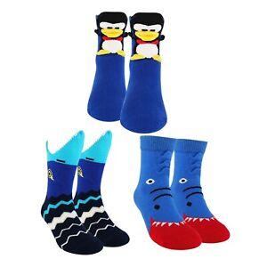 Sockmate Kid's Wide Mouth Animal Socks Penguin,Sharks - 3 Pair Pack Crew Socks