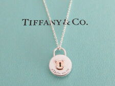TIFFANY & CO Sterling Silver 18K Gold Round Lock Pendant Necklace