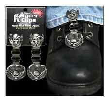 SKULL AND WINGS RYDER CLIPS MOTORCYCLE BOOT CLIPS FOR LACED BOOTS FUNCTION STYLE