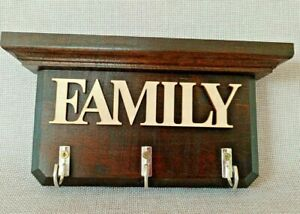 WALL KEY HOLDER WITH 3 HOOKS RACK,SHELF, FAMILY WORD WOODEN ORGANIZER HOME DECOR
