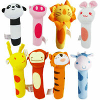 Soft Sound Animal Handbells Plush Squeeze Rattle Toys For Newborn Baby Xmas Gift