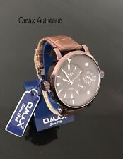 Omax Men's Retro Design Big Dial Time Brown Dial Brown Leather Strap Watch New