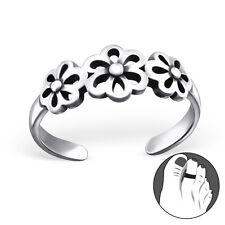 Tjs 925 Sterling Silver Toe Ring Triple Flower Hollow Cut Adjustable Jewellery