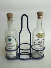 Greek Ouzo Of Plomari Glass Oil & Vinegar Set Metal Stand Vintage C/ble Advertis