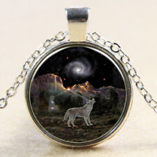 Vintage space Wolf Cabochon Tibetan Silver Glass Chain Pendant Necklace E