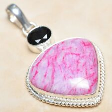 "Handmade Cherry Ruby Natural Gemstone 925 Sterling Silver Pendant 2.25"" #P03992"