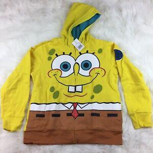 Spongebob Squarepants Full Zip Hoodie Hooded Sweatshirt Kids Size Large - NEW