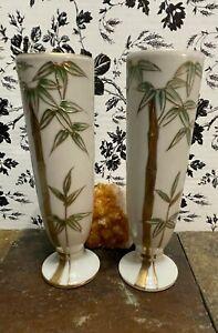 "Japanese Vases 7.5"" Hand Painted Ceramic Bamboo Ugaco China No Cracks"