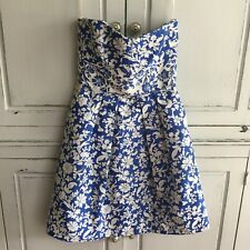 Cynthia Steffe Brocade Strapless Dress Blue & White Floral Print Size 2 Pleated