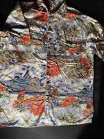Hilo Hattie XL Hawaiian Shirt Volcano Palm Trees Flowers Hula Girls
