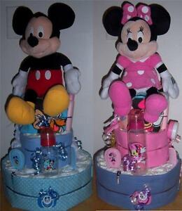 Baby Shower 3 Tier Mickey Mouse or Minnie Mouse Diaper Cake