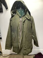 barbour beaufort Classic Wax Waxed Jacket C46 122cm With Hood Green Vgc Clean