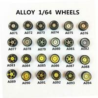 Newest! 1/64 Scale Alloy Wheels - Custom Hot Wheels, Matchbox,Tomy, Rubber Tires