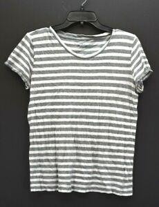 J.Crew Women Gray White Stripe Short Sleeve Scoop Neck Vintage Cotton T Shirt M