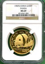 CHINA  1987S  PANDA GOLD  1 OZ   NGC MS 69    100 YUAN