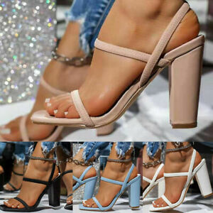Womens Ladies Block High Heels Ankle Strap Sexy Open Toe Sandals Shoes Size UK