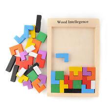 Wooden Tangram Brain Teaser Puzzle Tetris Educational Baby Child Kid Toy