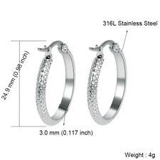 316L Stainless Steel Women's Fashion Silver Round Simple Hoop Earrings Jewelry