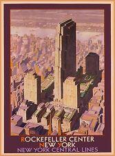 Rockefeller Center New York Vintage United States Travel Advertisement Poster