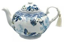 Fine China Teapot with Blue Butterfly Garden Pattern and White Tassle * Gift