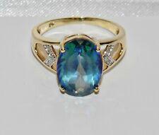 9ct Gold Mystic Blue Topaz & Diamond Large Cocktail Ring - size P