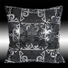 LUXURY SHINY SILVER BLACK SEQUINS TAFFETA CUSHION COVER THROW PILLOW CASE 16""
